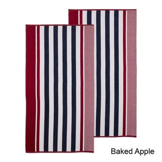 Superior 100% Cotton Checkered Stripe Textured Oversized Beach Towel (Set of 2)