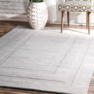 nuLOOM Transitional Handmade Wool Double Border Light Grey Rug (7'6 x 9'6)