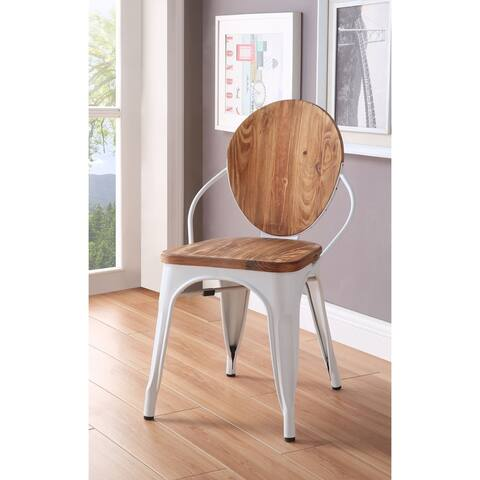 ACME Rayne Side Chair in White and Natural, Set of 2