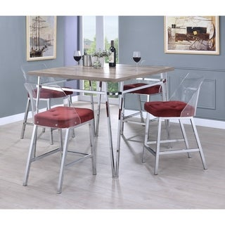 ACME Neve Counter Height Chair in Acrylic and Burgundy Velvet, Set of 2