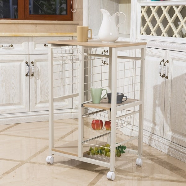 White Mobile Kitchen and Serving Cart