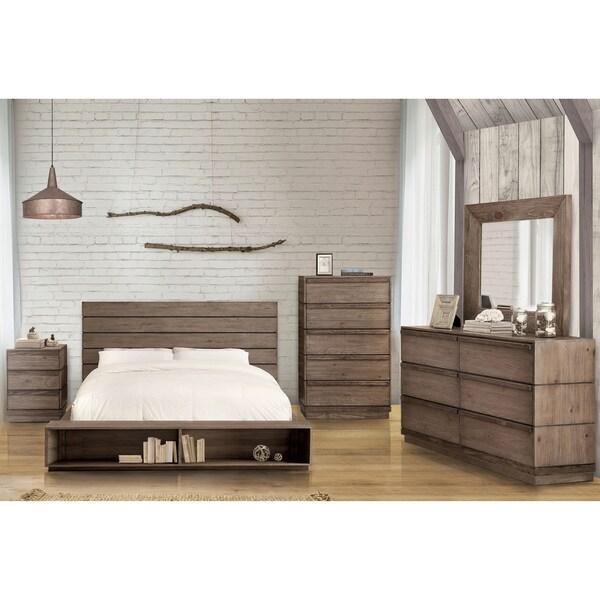 Furniture of America Emallson II 4-piece Rustic Natural Tone Low ...