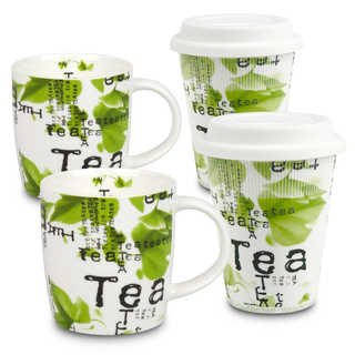 Konitz Set of 4 Assorted Tea Collage To Stay/To Go Mugs