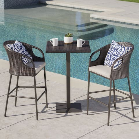 Dominica Outdoor 3-piece Wicker 40-inch Square Bar Set with Cushions by Christopher Knight Home