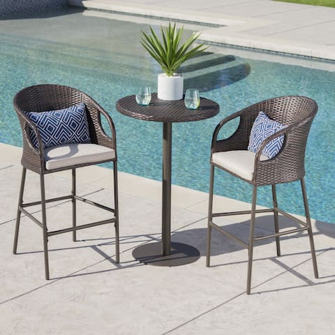 Dominica Outdoor 3-piece Wicker 40-inch Round Bar Set with Cushions by Christopher Knight Home