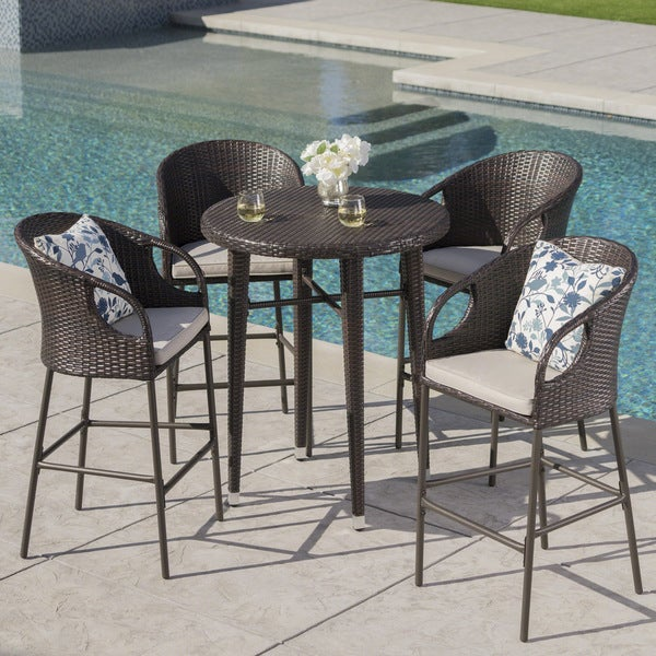 Dominica Outdoor 5-piece Wicker 41-inch Round Bar Set with Cushions by Christopher Knight Home