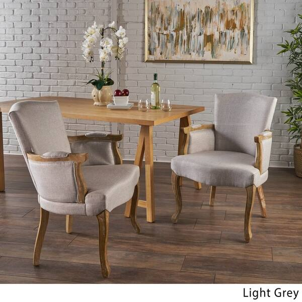 Shop Emina Traditional Fabric Armed Dining Chair (Set of 2 ...