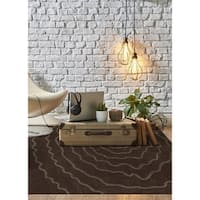 Addison Chase Artistic Spiral Brown/Taupe Plush Area Rug (3'6 x 5'6)
