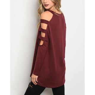 JED Women's Cut-out Shoulder Long Sleeve Sweater Tunic