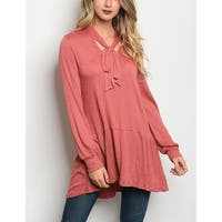 JED Women's Relax Fit Long Sleeve Bow Tunic