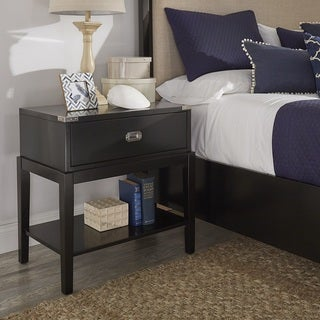 Lonny 1-Drawer Black Wood Campaign Nightstand by iNSPIRE Q Classic