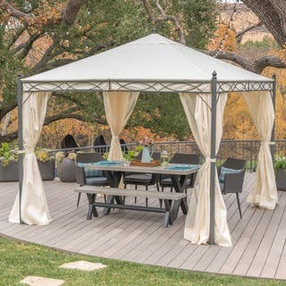 Sicilia Outdoor Steel Gazebo By Christopher Knight Home