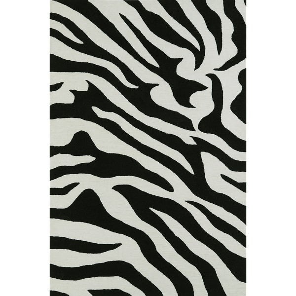 "ADDISON Malia Animal Print Black/White Zebra Area Rug (3'6""X5'6"")"