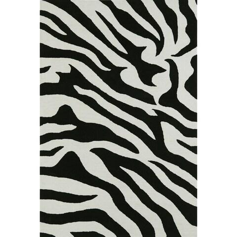"ADDISON Malia Animal Print Black/White Zebra Area Rug (3'6""X5'6"")"