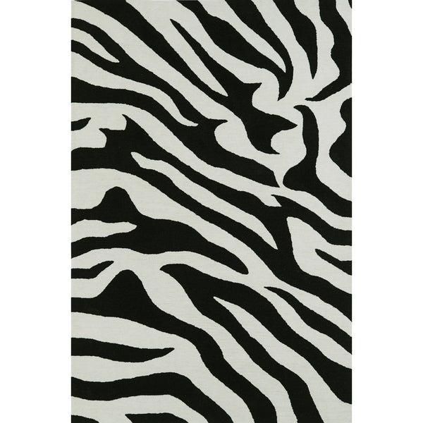 Addison Rugs Malia Black White Zebra Animal Print Area Rug