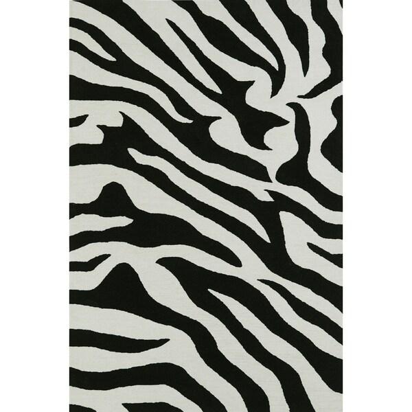 ADDISON Malia Animal Print Black/White Zebra Area Rug (9'X13')