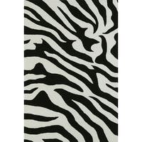ADDISON Malia Animal Print Black/White Zebra Area Rug (9'X13')