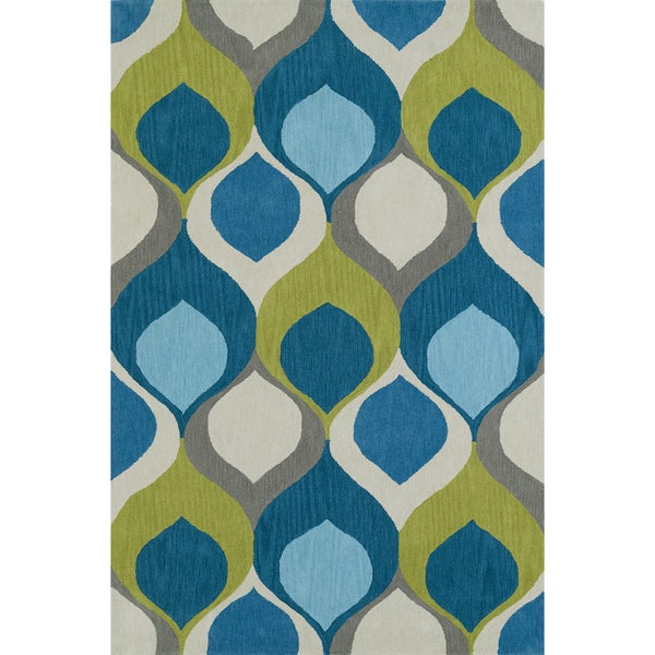 Addison Rugs Malia Bohemian Hourglass Blue Teal/Lime Area Rug (3'6 x 5'6)