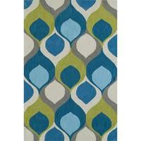 Addison Malia Bohemian Hourglass Blue Teal/Lime Area Rug (9' x 13')