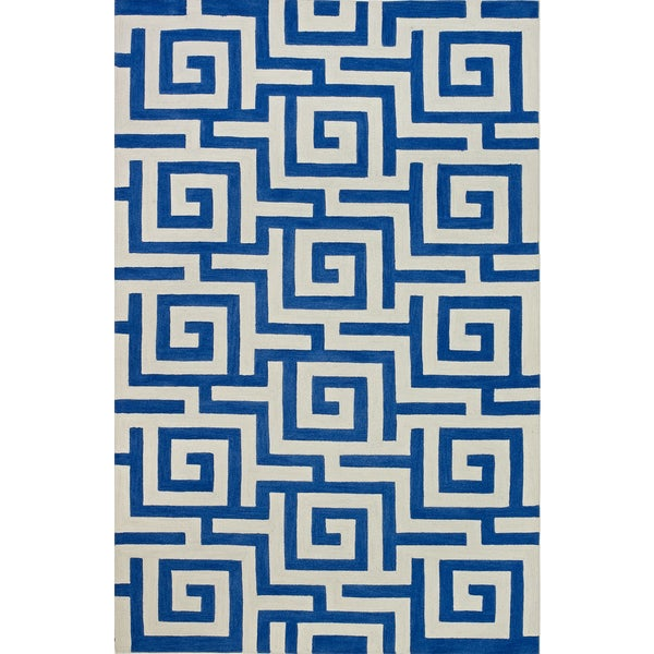 Addison Rugs Optics Greek Key Blue/White Area Rug (9 U0026#x27;