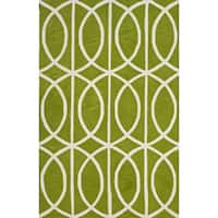 Addison Rugs Optics Modern Geometric Lime Green/White Acrylic/Cotton Hourglass Area Rug (3'6 x 5'6)