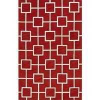 ADDISON Optics Modern Geometric Red/White Square Area Rug (9'X13')