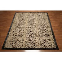 Contemporary Eclectic Modern Oriental Animal Print Beige and Black Area Rug - 8' x 10'