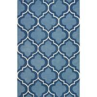Addison Rugs Optics Moroccan Trellis Geometric Blue/White Fabric/Cotton/Acrylic Indoor Rectangular Area Rug - 9' x 13'