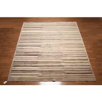 Contemporary Boho Stripe Oriental Wool and Silk Area Rug (8'6 x 11'6)