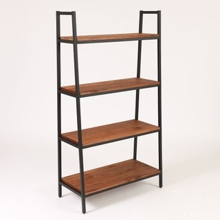 Etagere Metal and Wood Black and Weathered Natural Finish 57-inch Bookcase