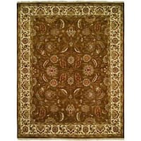 Lateef Brown/Ivory Wool Round Hand-knotted Area Rug (6' x 6') - 6' Round