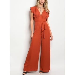 JED Women's V-Neck Ruffled Wide Leg Jumpsuit