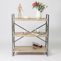 Natural Finish Wood Metal 36-inch Etagere Bookcase