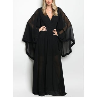 JED Women's Cape Style V-Neck Black Long Gown