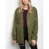 JED Women's Oversized Cotton Jacket with Grommet Details