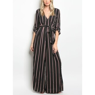 JED Women's V-Neck Striped Palazzo Jumpsuit