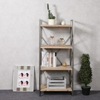 Natural Wood and Metal 54-inch 4-shelf Etagere Bookcase