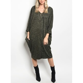 JED Women's Loose Fitting Sweater Fabric Knee Length Knit Dress