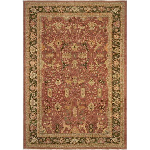 Peshawar Christel Pink/Green Wool Rug (12'3 x 17'7) - 12 ft. 3 in. x 17 ft. 7 in. - 12 ft. 3 in. x 17 ft. 7 in.