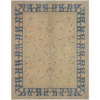 Kafkaz Sun-Faded Odette Lt. Tan/Blue Wool Rug (9'0 x 11'10) - 9 ft. 0 in. x 11 ft. 10 in.