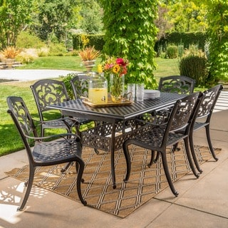 Abigal Outdoor Multi Piece Shiny Copper Finish Cast Aluminum Dining Set  With Leaf By Christopher
