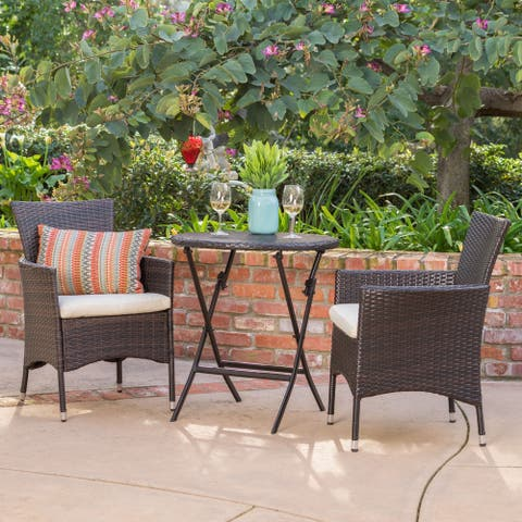 Malaga Outdoor 3-piece Round Wicker Dining Bistro Set with Cushions by Christopher Knight Home