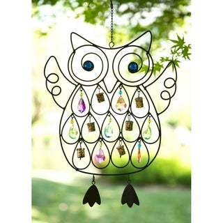 Glitzhome Handcrafted Iron Beaded Owl Patio Wind Chime