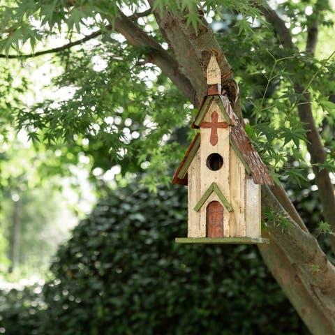 "Glitzhome 12""H Distressed Solid Wood Church Birdhouse"