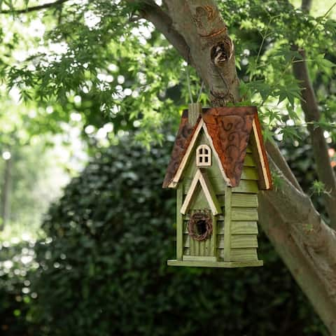Glitzhome Tall Green Hand Painted Wood Birdhouse