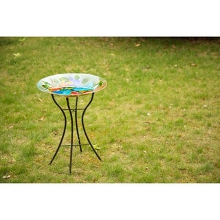 Glitzhome Fused Dragonfly Glass Garden Bird Bath With Metal Stand
