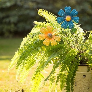 Glitzhome Handcrafted Small Flowers Garden Decorative Yard Stakes Set of 3