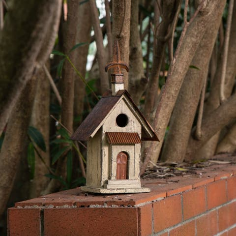 Glitzhome Tall Church Hand Painted Wood Birdhouse
