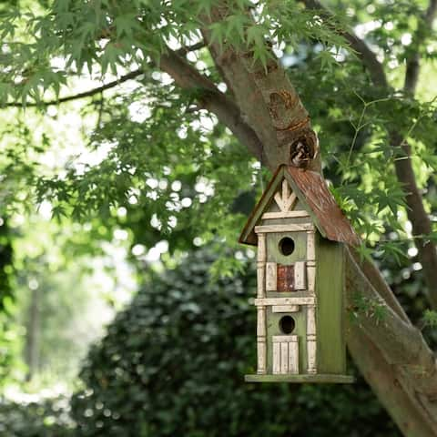 Glitzhome Tall Two-Tier Hand Painted Wood Birdhouse