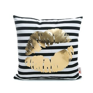 Flannel Pillow Case Striped Gold Lips 18 x 18